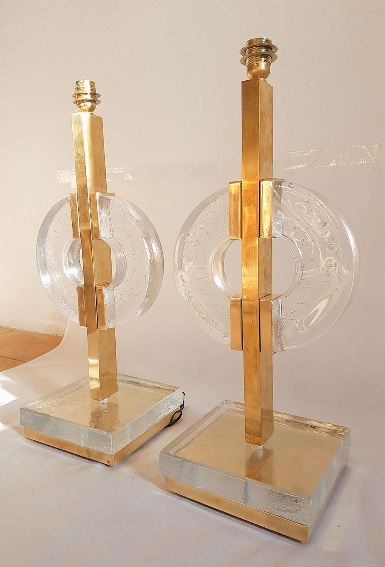 Mid-Century Modern Large Pair of Midcentury Modern Clear Glass / Brass Italian Table Lamps, 1960s For Sale