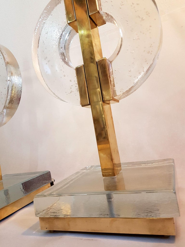 Large Pair of Midcentury Modern Clear Glass / Brass Italian Table Lamps, 1960s For Sale 2