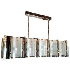 Mitte des Jahrhunderts Moderner Stil Dlightus maßgeschneiderte Nickel und Mattierte Glas Kronleuchter