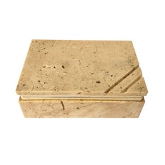 Travertine and Brass Hinged Box in Organic Style Attributed to Fratelli Mannelli