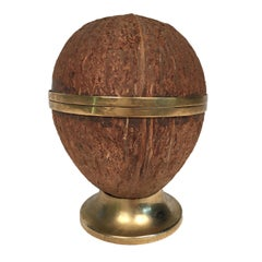 Ashtray in Real Coconut and Brass, Mid-Century Modern