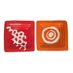 Pair of Ashtrays or Empty Pocket in Ceramic by Il Picchio, Made in Italy, 1970s