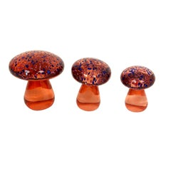 Trio of Murano Toadstool Orange and Blue Art Glass Mushrooms Paperweight, Italy