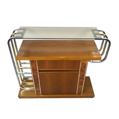 Willy Rizzo Console Table in Burlwood Brass Glass and Chrome, 1970s, Italy