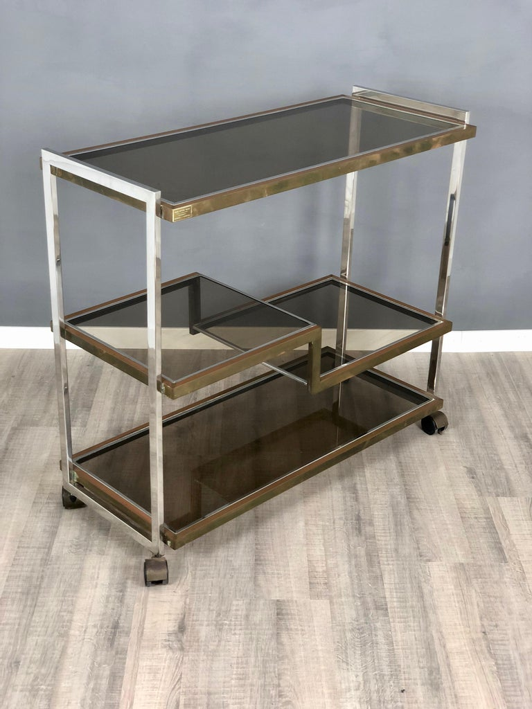 Late 20th Century Serving Cart Trolley Chrome And Br By Serantoni Arcangeli New Ideas Inox