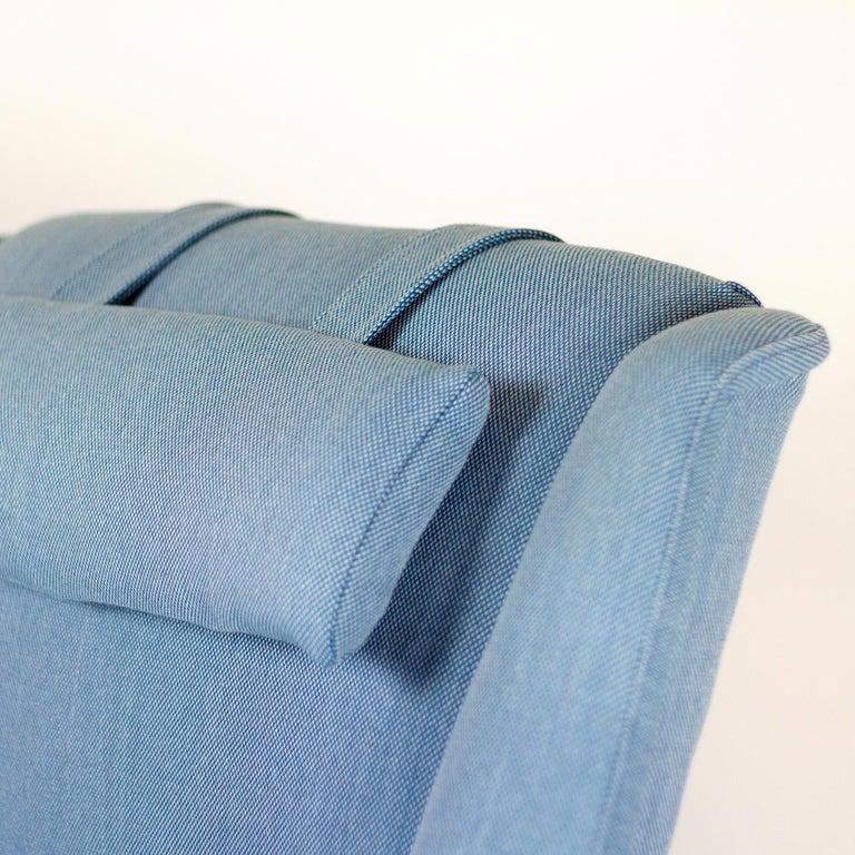 Wool Powder Blue Mid Century Armchair by Folke Ohlsson for Fritz Hansen, Denmark For Sale