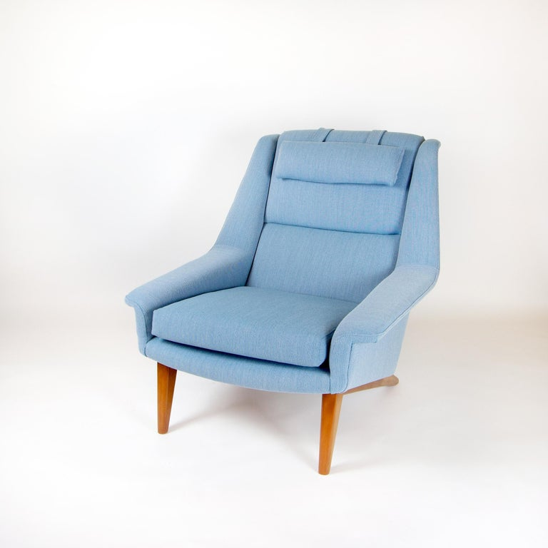 Powder Blue Mid Century Armchair by Folke Ohlsson for Fritz Hansen, Denmark For Sale 5