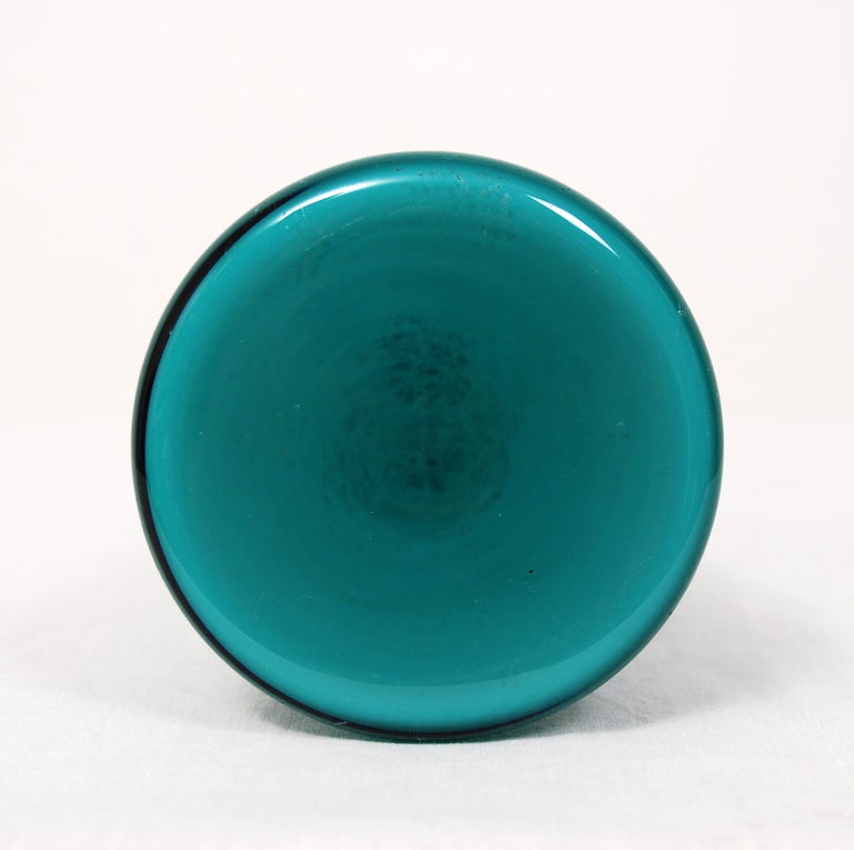 20th Century Swedish Turquoise Glass Vase by Gunnar Ander for Elme Glasbruk, 1960s For Sale