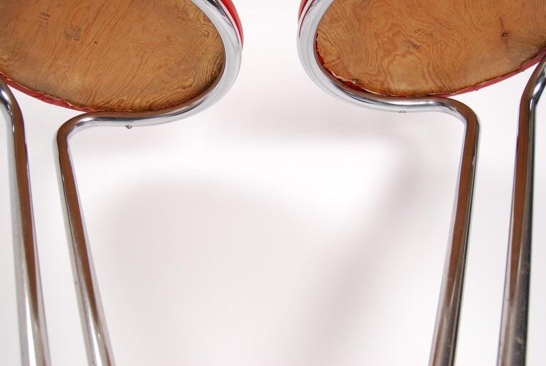 Swedish Tubular Steel Stools, Set of 2 In Good Condition For Sale In Stockholm, SE