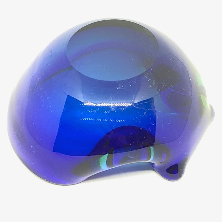 Art Glass Sommerso Vintage Italian Blue and Green Murano Glass Cigar Ashtray, circa 1970 For Sale