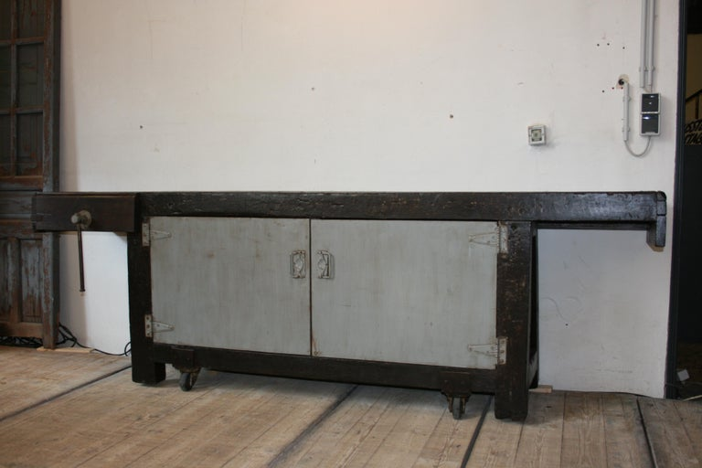 Belgian Old Industrial Workbench For Sale