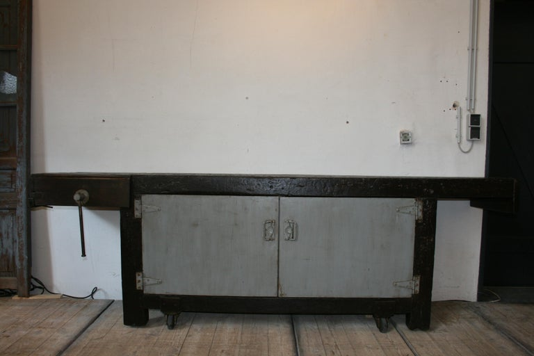 Wood Old Industrial Workbench For Sale