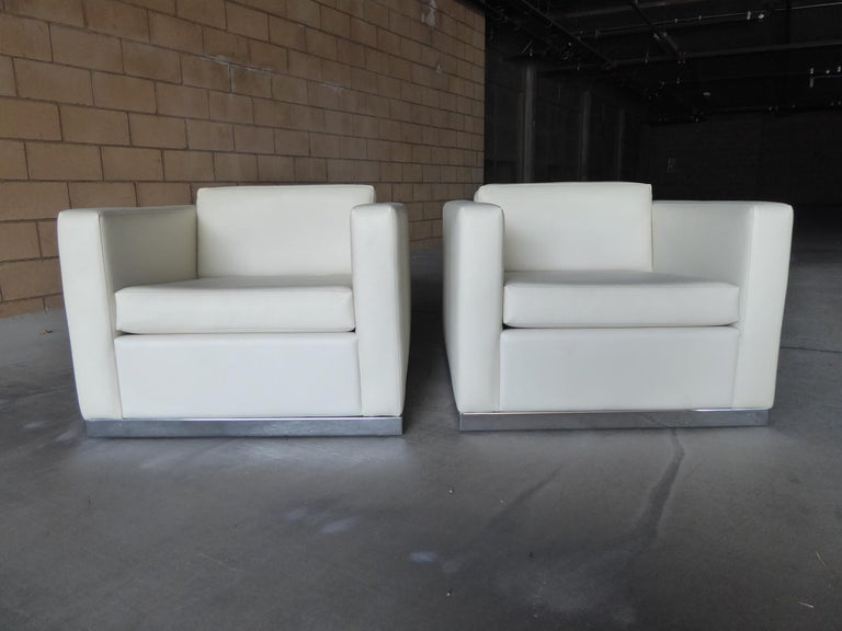 Plated Pair of Vintage Canadian Cube Chairs For Sale