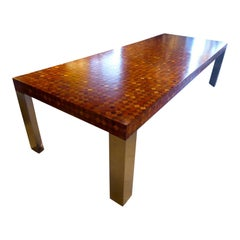Rare Paul Evans Marquetry and Stainless Steel Rectangular Dining Table