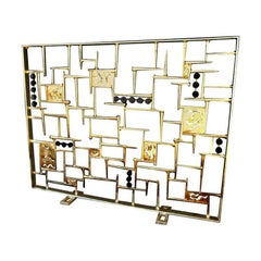 """Modernist"" a Sculptural Gilded Metal Firescreen by American Artist Del Williams"