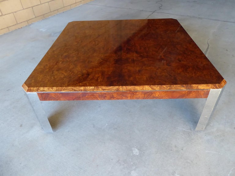 Plated Burled Walnut and Chromed Steel Coffee Table Designed by Leon Rosen for Pace For Sale
