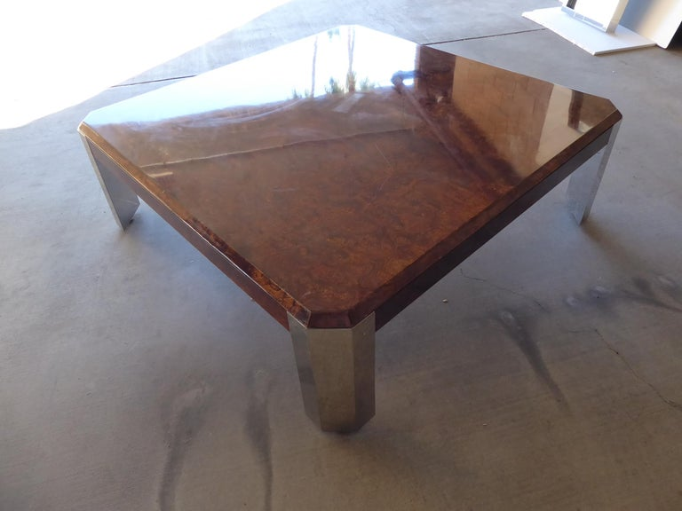 Burled Walnut and Chromed Steel Coffee Table Designed by Leon Rosen for Pace For Sale 2