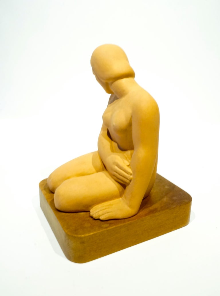 Art Moderne terracotta female figure on wooden base by San Francisco artist Vera Bernhard, circa 1940. The artist name appears tangentially in newspapers and in a San Francisco Art Museum exhibition guide in 1938. There is a pencil notation on the
