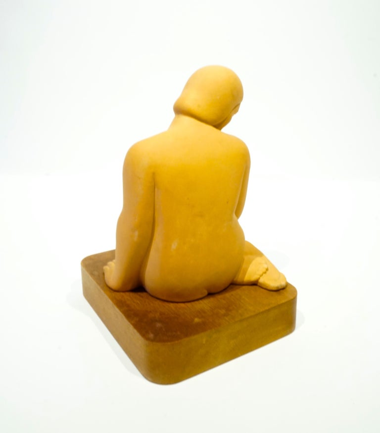 Art Deco Terracotta Art Moderne Female Figure on Wooden Base by Vera Bernhard, circa 1940 For Sale