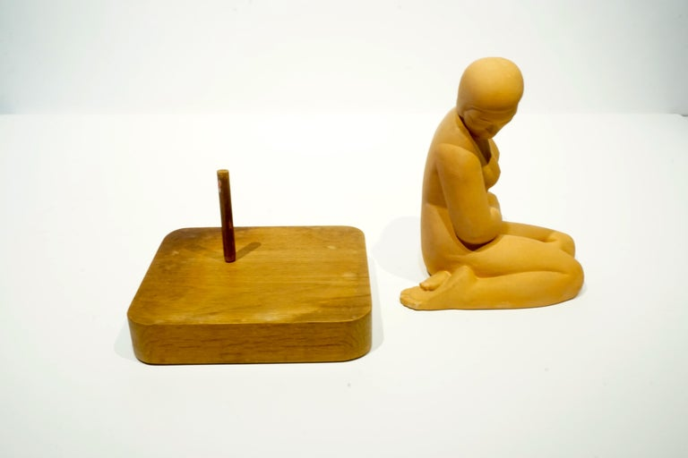 American Terracotta Art Moderne Female Figure on Wooden Base by Vera Bernhard, circa 1940 For Sale