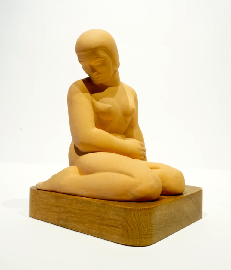 Terracotta Art Moderne Female Figure on Wooden Base by Vera Bernhard, circa 1940 In Excellent Condition For Sale In Palm Springs, CA
