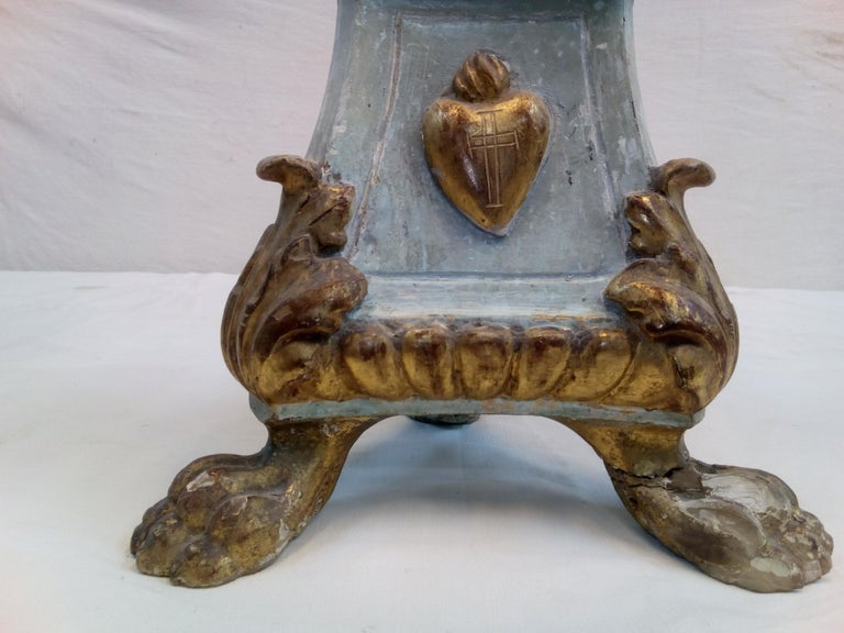 18th Century Italian Wood Candelabra of Order of the Sacred Heart For Sale 1