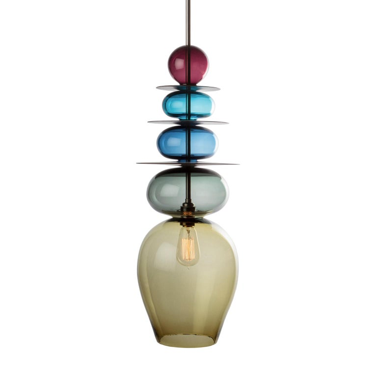 Large Modern Custom Made Oriental Sculptural Colored Glass Pendant / Chandelier For Sale