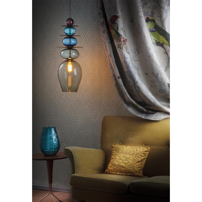 Contemporary Large Modern Custom Made Oriental Sculptural Colored Glass Pendant / Chandelier For Sale