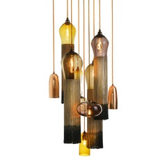 Glass Chandelier Contemporary Handblown Glass Pendants with Tassels and Copper