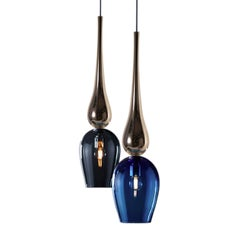 Modern Murano Hand Blown Colored Glass, Silver Stemmed Pendant / Chandelier