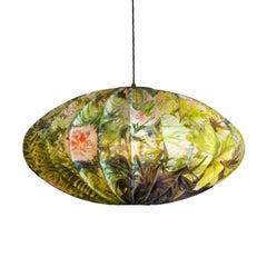 Large Modern Oriental Silk Lantern, English Garden Chinoiserie Bubble Light
