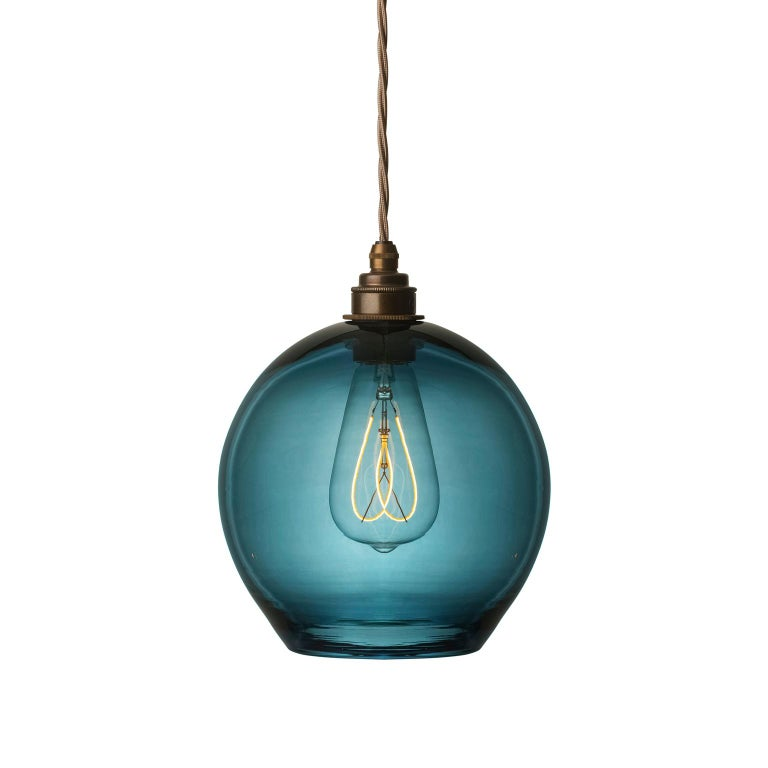 Contemporary Handblown Colored Glass Pendant, Blue, Yellow, Red, Olive, Purple For Sale