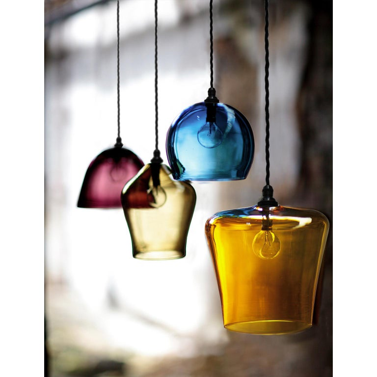 English Contemporary Handblown Colored Glass Pendant, Blue, Yellow, Red, Olive, Purple For Sale