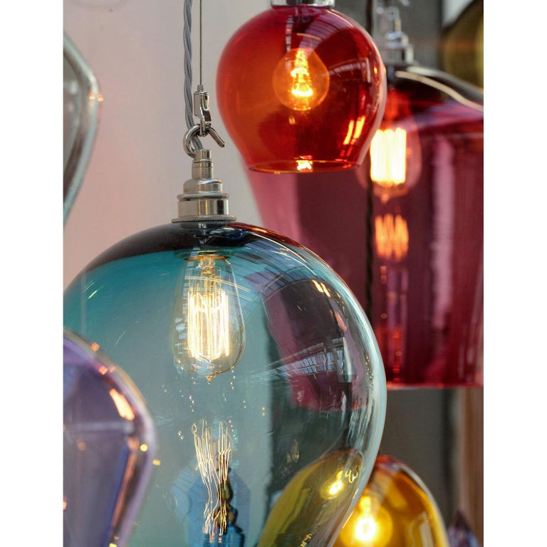 Contemporary Handblown Colored Glass Pendant, Blue, Yellow, Red, Olive, Purple For Sale 3