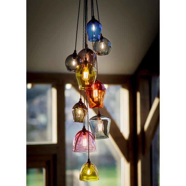 Contemporary Handblown Colored Glass Pendant, Blue, Yellow, Red, Olive, Purple For Sale 5