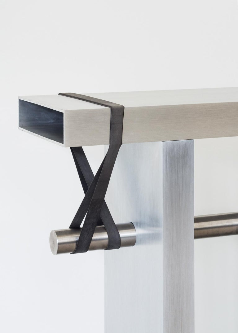 Dutch Contemporary 'Arke' Console in Brushed Aluminium and Polished Stainless Steel For Sale