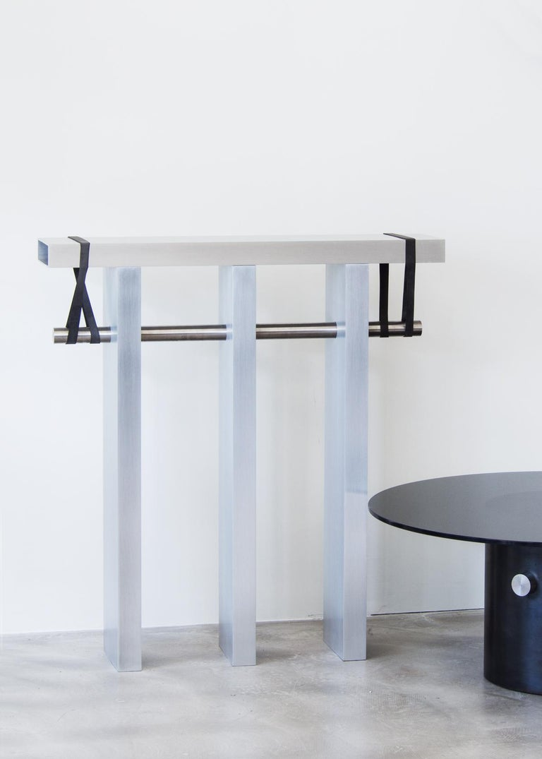 Aluminum Contemporary 'Arke' Console in Brushed Aluminium and Polished Stainless Steel For Sale