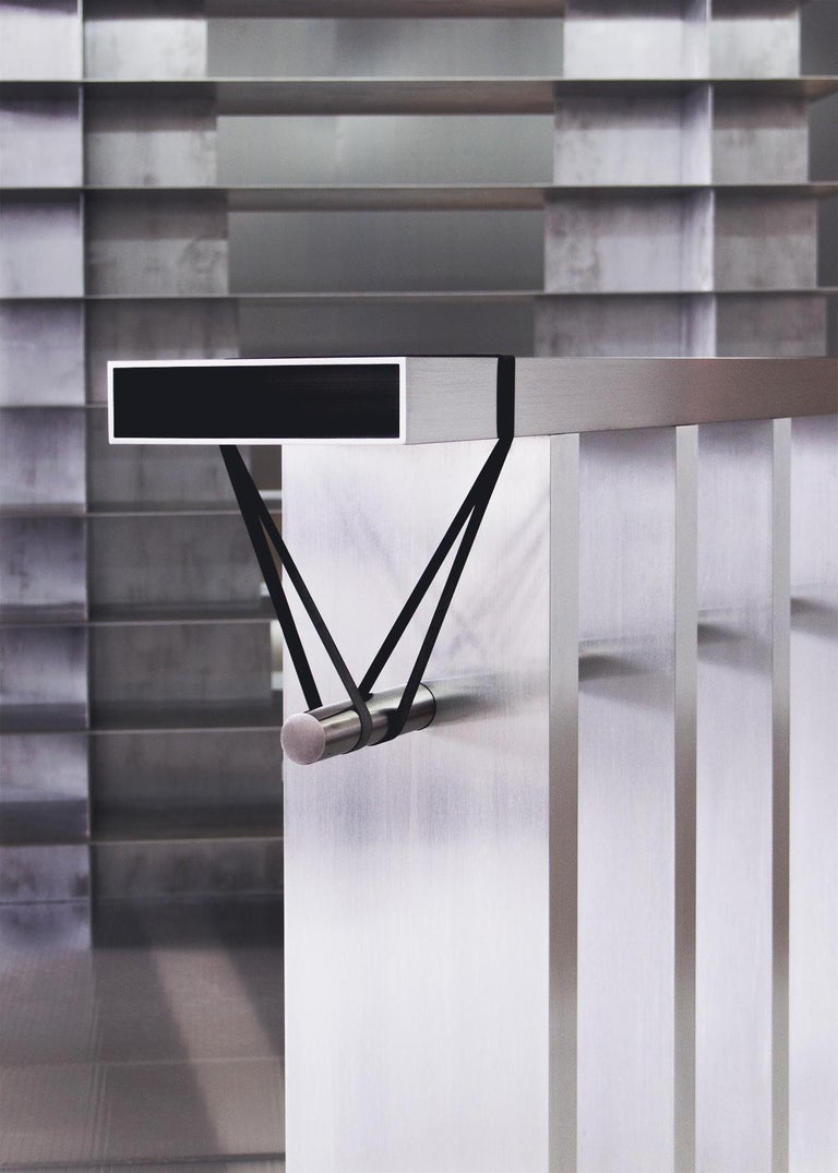 Contemporary 'Arke' Console in Brushed Aluminium and Polished Stainless Steel For Sale 2