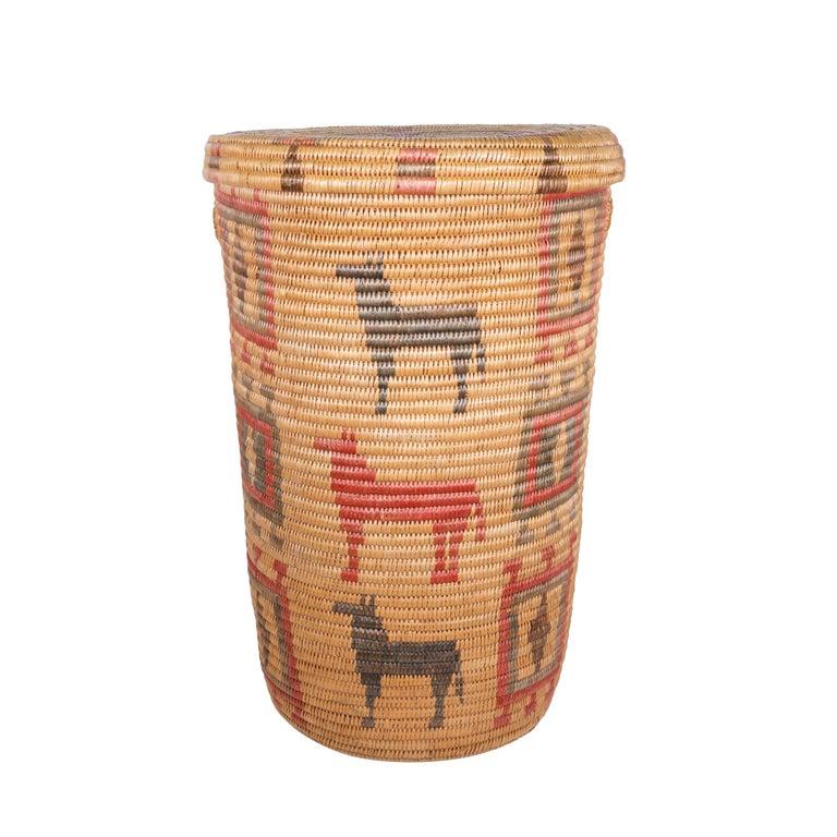 American Jicarilla Apache Lidded Basket For Sale