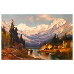 "Original Painting ""Last Light (Rocky Mountains)"" by Greg Parker"