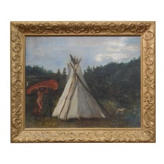 Native American Indian Canoe and Teepee Painting