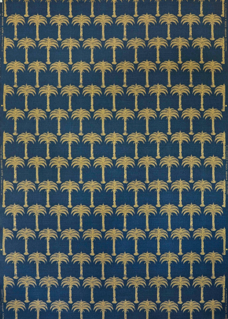 A small scale repeat of golden palm trees, available in an elegant midnight blue, a soft gold on parchment, or gold on our natural cloth.