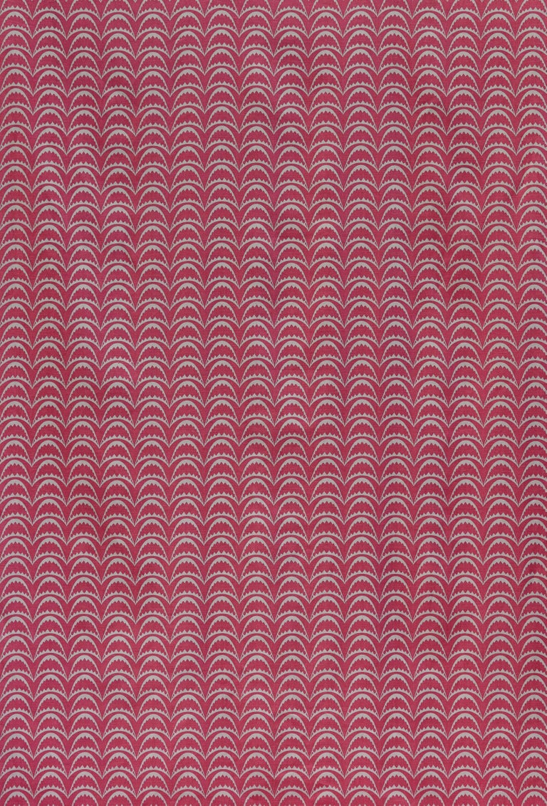 British 'Arcade' Contemporary, Traditional Fabric in Raspberry For Sale