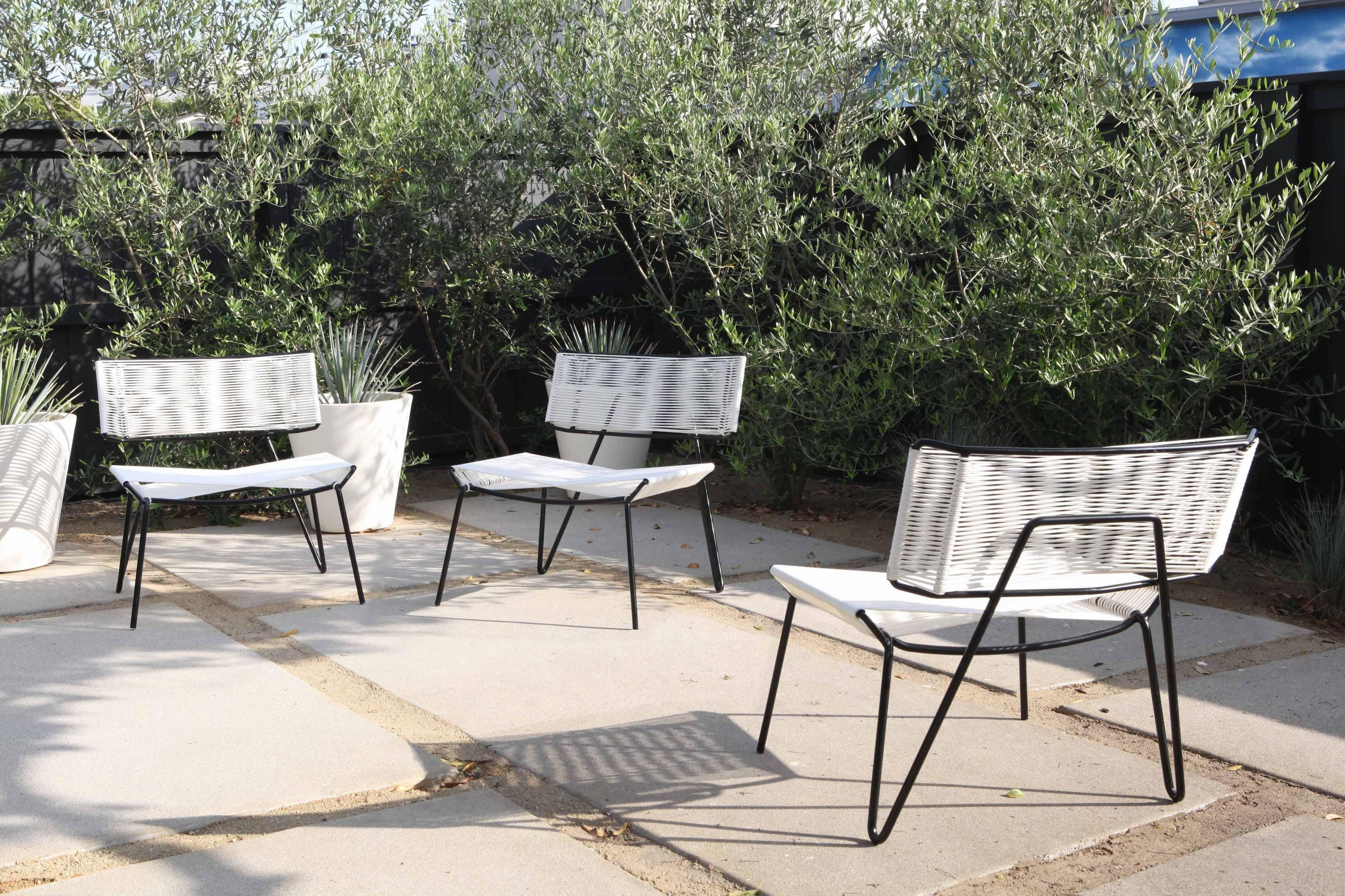 Mid Century Modern Handmade Midcentury Style Outdoor Lounge Chair, Black  With White PVC,