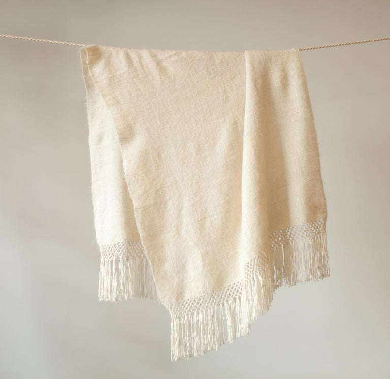 Handwoven Llama Wool Throw in Ivory Made in Argentina, In Stock In New Condition For Sale In Los Angeles, CA