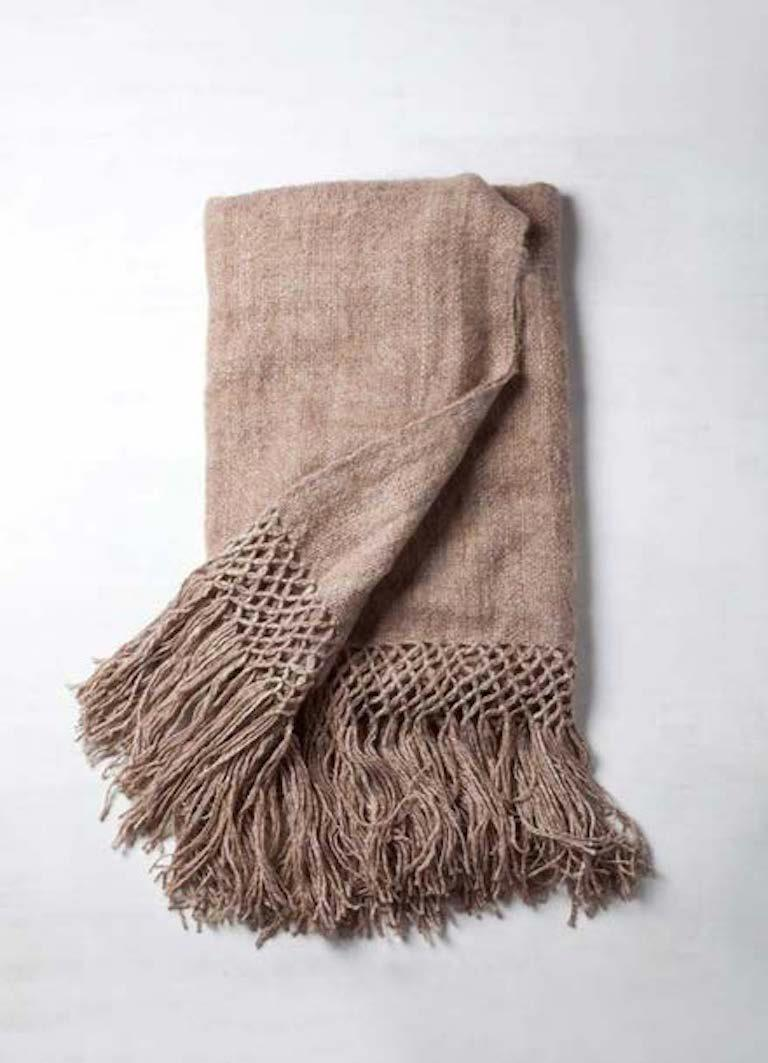 Contemporary Handwoven Llama Wool Throw in Ivory Made in Argentina, In Stock For Sale