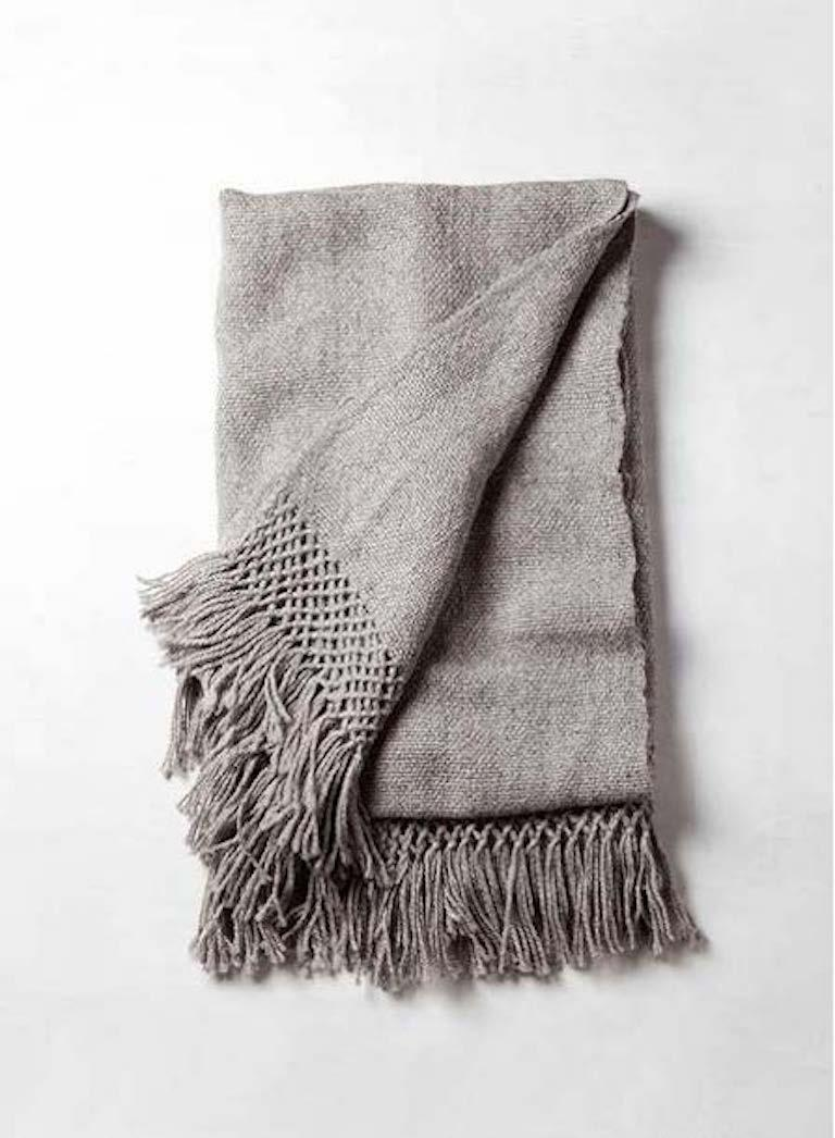 Handwoven Llama Wool Throw in Ivory Made in Argentina, In Stock For Sale 2