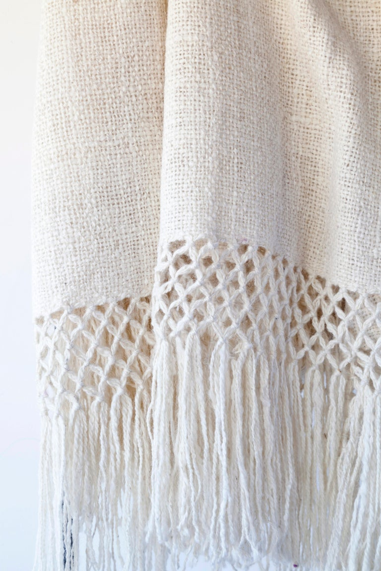 Hand-Woven Handwoven Llama Wool Throw in Ivory Made in Argentina, In Stock For Sale