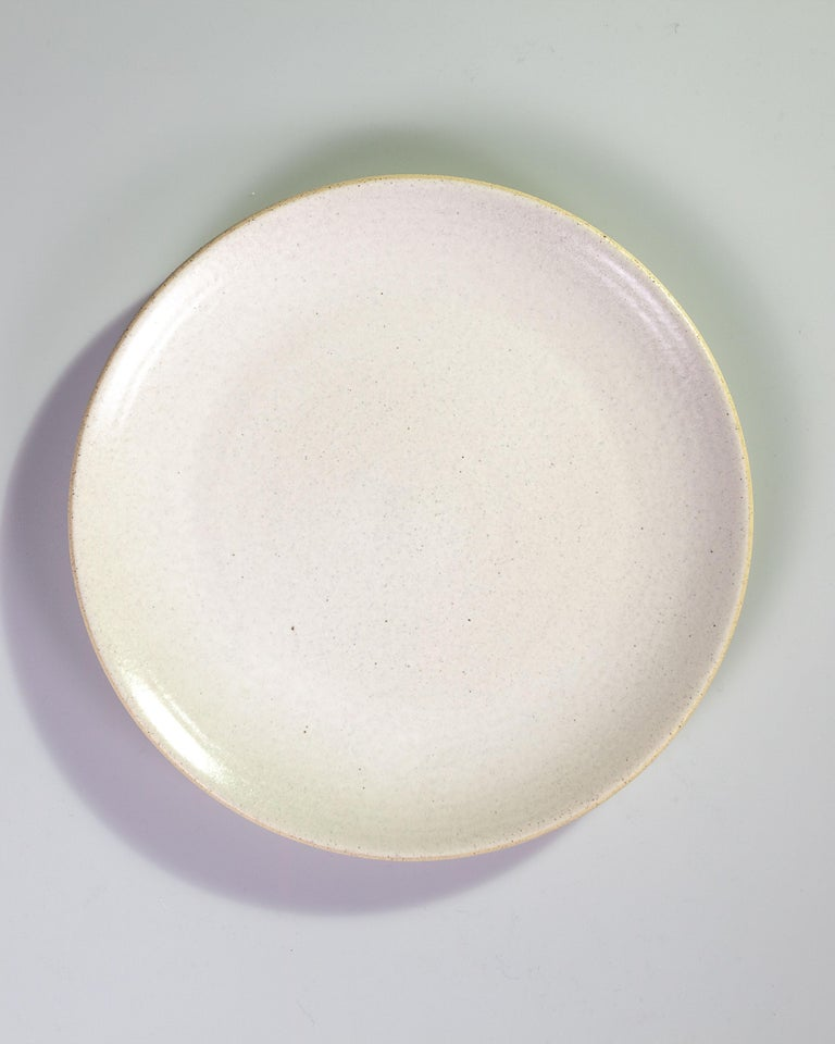 Earthenware Handmade Ceramic Stoneware 4 Piece Place Setting in Ivory and Natural For Sale