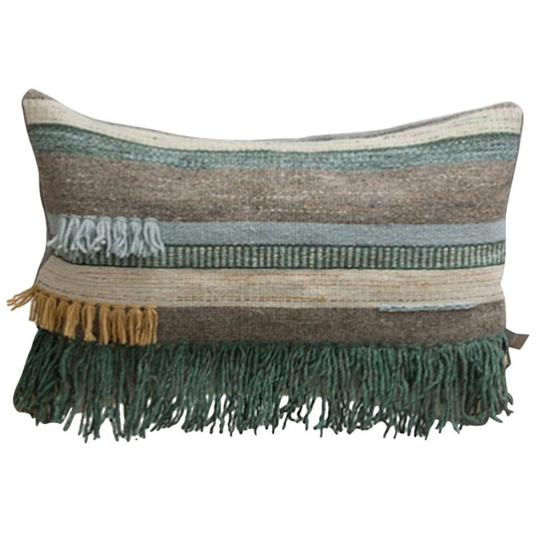 Hand-Woven Handwoven New Boho Wool Throw Pillow in Ochre and Black with Fringe, in Stock For Sale